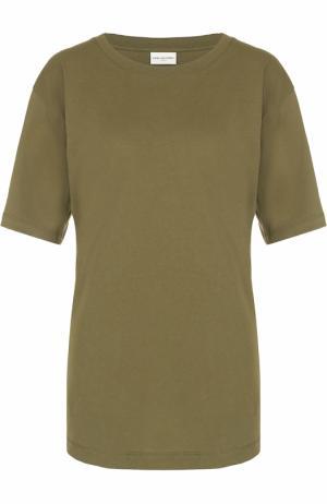 Хлопковая футболка свободного кроя Dries Van Noten. Цвет: хаки