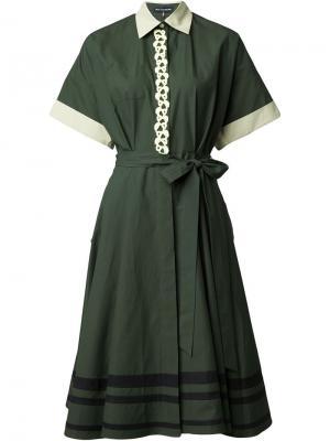 Платье-рубашка с вышивкой Vika Gazinskaya. Цвет: зелёный