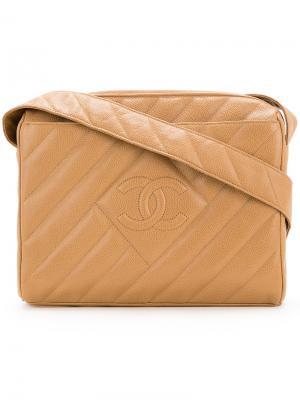 Stripe stitched shoulder bag Chanel Vintage. Цвет: коричневый