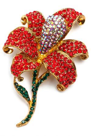 Брошь-кулон Цветок Beatrici Lux. Цвет: красный, зеленый, розовый