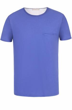 Хлопковая футболка с нагрудным карманом Daniele Fiesoli. Цвет: синий