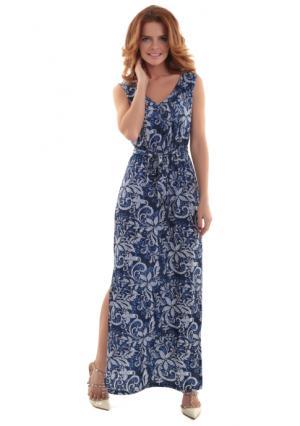 Платье MY STYLE. Цвет: синий с рисунком