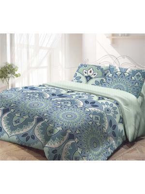 Комплект постельного белья семейный, ГАРМОНИЯ, поплин 70*70см, Мальта Волшебная ночь. Цвет: светло-зеленый, голубой, светло-голубой