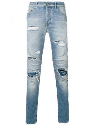 Байкерские джинсы с рваными деталями Marcelo Burlon County Of Milan. Цвет: синий