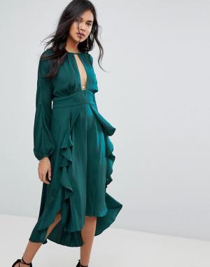 The Jetset Diaries Платье миди Songbird. Цвет: зеленый