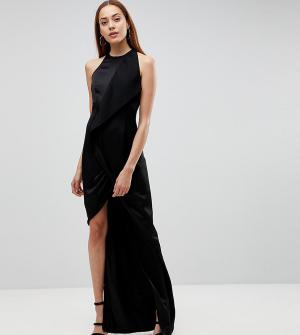 AQ Tall Платье макси с запахом и асимметричным разрезом AQ/AQ. Цвет: черный