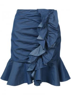 Джинсовая юбка с оборками Caroline Constas. Цвет: синий
