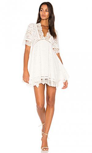 Ажурная расклешенное платье Nightcap. Цвет: белый