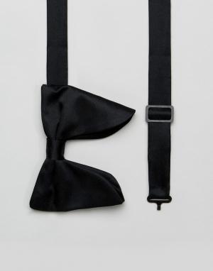 ASOS Черный атласный галстук-бабочка. Цвет: черный