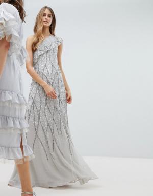 Amelia Rose Декорированное платье макси на одно плечо с оборкой. Цвет: серый