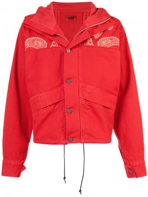Cropped paisley denim jacket 424 Fairfax. Цвет: красный