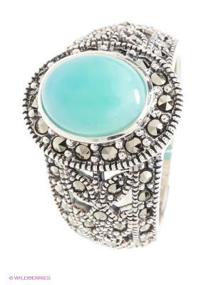 Кольцо МАРКАЗИТ. Цвет: бирюзовый, серебристый