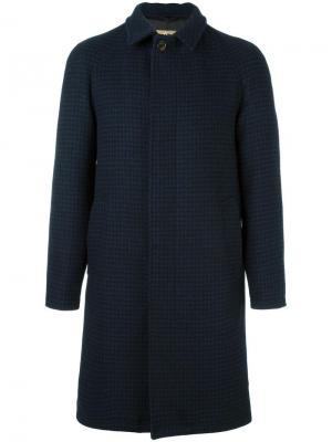 Пальто в ломаную клетку Sealup. Цвет: синий