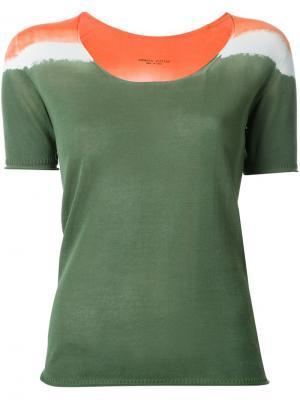 Вязаная футболка Roberto Collina. Цвет: зелёный