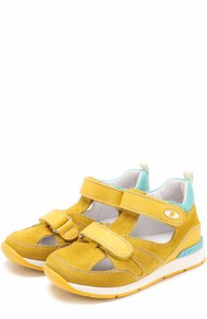 Замшевые сандалии с застежками велькро и отделкой из кожи Falcotto. Цвет: желтый