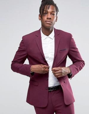 ASOS Супероблегающий пиджак ягодного цвета с четырьмя пуговицами. Цвет: фиолетовый