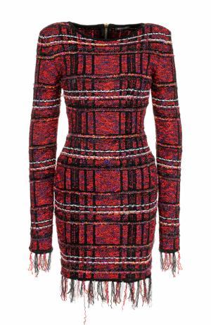 Буклированное мини-платье с длинным рукавом Balmain. Цвет: красный