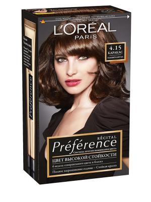 Стойкая краска для волос Preference, оттенок 4.15, Каракас L'Oreal Paris. Цвет: коричневый