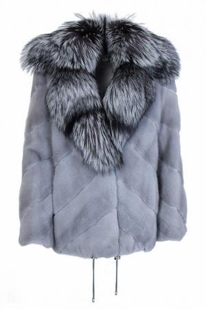 Меховое пальто Bellini. Цвет: голубой