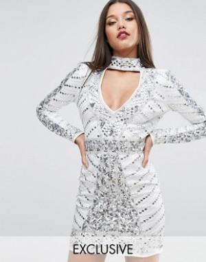 Starlet Декорированное платье мини с горловиной-чокер. Цвет: белый