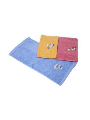 Комплект полотенец Повар La Pastel. Цвет: голубой, розовый, желтый