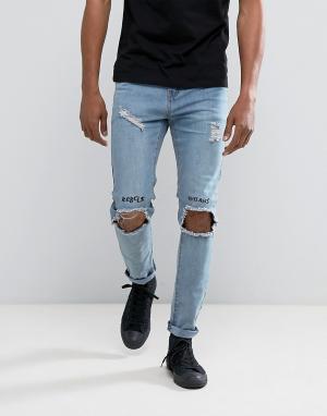 Roadies Выбеленные джинсы скинни с вышивкой и рваной отделкой на коленях Roadi. Цвет: синий