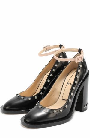 Кожаные туфли со стразами и ремешком на щиколотке No. 21. Цвет: черный