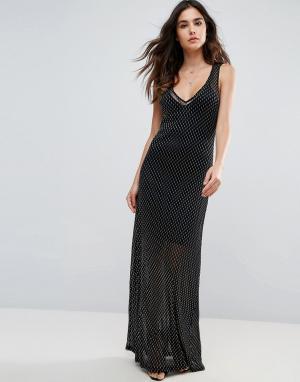 WYLDR Сетчатое платье макси Celeste Sands. Цвет: серебряный