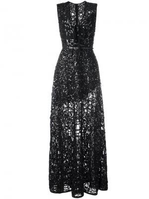 Полупрозрачное платье с V-образным вырезом Elie Saab. Цвет: чёрный