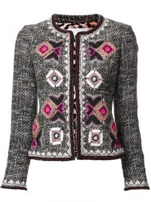 Твидовый пиджак с обшитым узором Bazar Deluxe. Цвет: чёрный