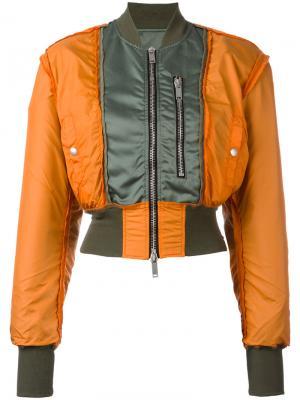 Укороченная куртка-бомбер Unravel Project. Цвет: жёлтый и оранжевый