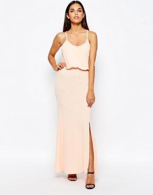 Club L Платье макси с перекрещивающимися лямками сзади. Цвет: розовый