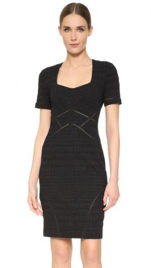 Компактное платье из эластичной ткани с эффектом поношенности Yigal Azrouel. Цвет: блестящий черный