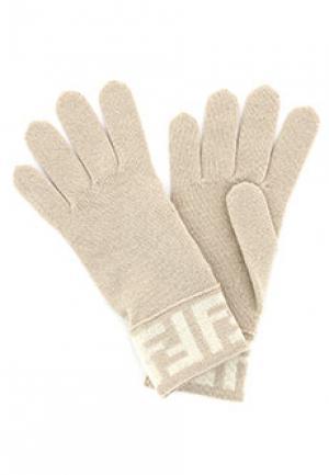 Перчатки FENDI. Цвет: бежевый