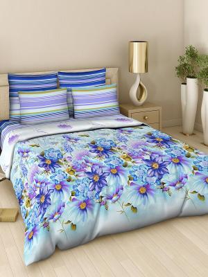 Комплект постельного белья из поплина 2 спальный Василиса. Цвет: светло-голубой, синий
