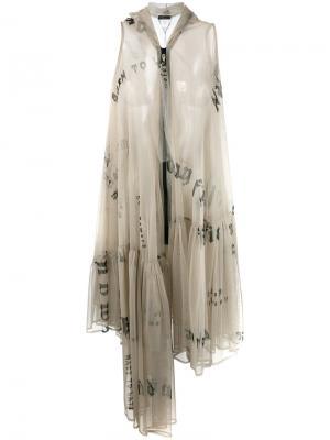 Полупрозрачное платье с оборкой Area Di Barbara Bologna. Цвет: телесный