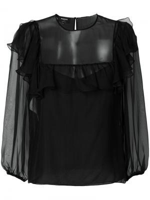 Полупрозрачная блузка с оборками Rochas. Цвет: чёрный