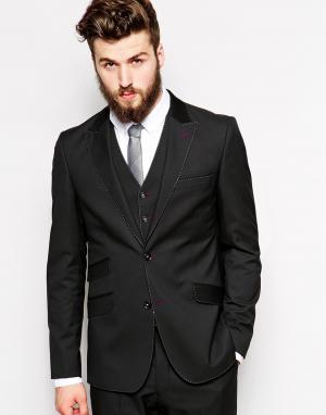 Guide London Узкий пиджак со строчкой. Цвет: черный