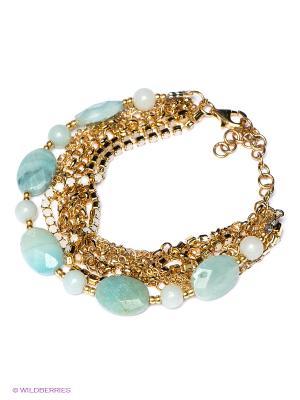 Браслет La Mer Collections. Цвет: золотистый, бирюзовый