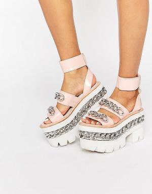 Jeffrey Campbell Кожаные сандалии на массивной платформе с цепочками. Цвет: розовый