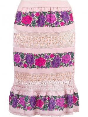 Юбка миди Cecilia Prado. Цвет: розовый и фиолетовый