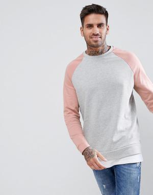 ASOS Серо-розовый меланжевый свитшот со вставкой. Цвет: розовый