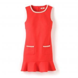 Платье прямое с баской MOLLY BRACKEN. Цвет: красный