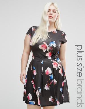 Praslin Короткое приталенное платье с цветочным принтом Plus. Цвет: черный