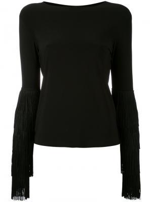 Блузка с бахромой на рукавах Norma Kamali. Цвет: чёрный