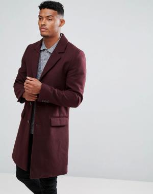 River Island Бордовое пальто. Цвет: красный