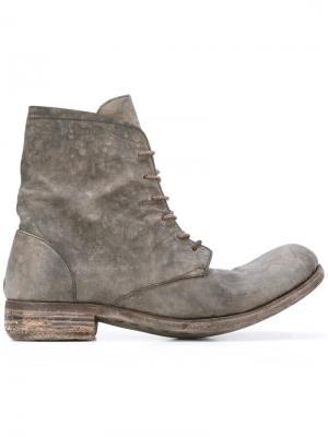 Ботинки на шнуровке с эффектом потертости A Diciannoveventitre. Цвет: серый