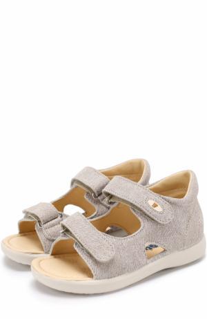 Кожаные сандалии с застежками велькро Falcotto. Цвет: бежевый