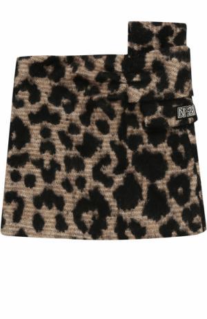 Мини-юбка с леопардовым принтом и бантом No. 21. Цвет: бежевый