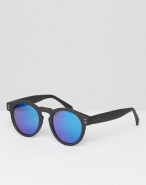 Komono Круглые солнцезащитные очки в черной оправе с синими стеклами C. Цвет: черный